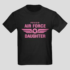 Proud Air Force Daughter W [pink] Kids Dark T-Shir